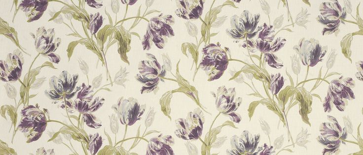 Gosford Plum Floral Linen/Cotton Fabric at Laura Ashley