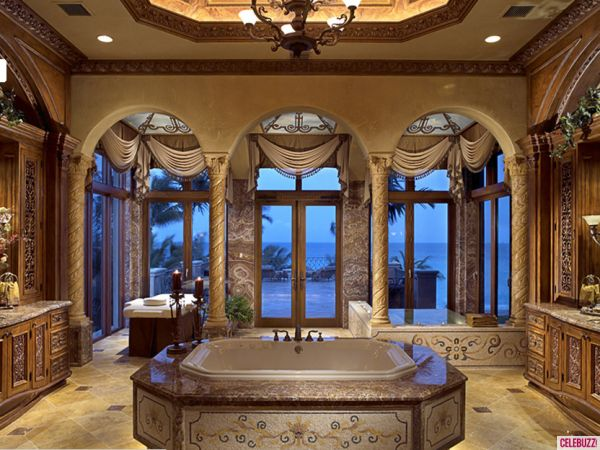 Mansion bathrooms inside chris cline 39 s beachfront mega for Amazing mansions inside