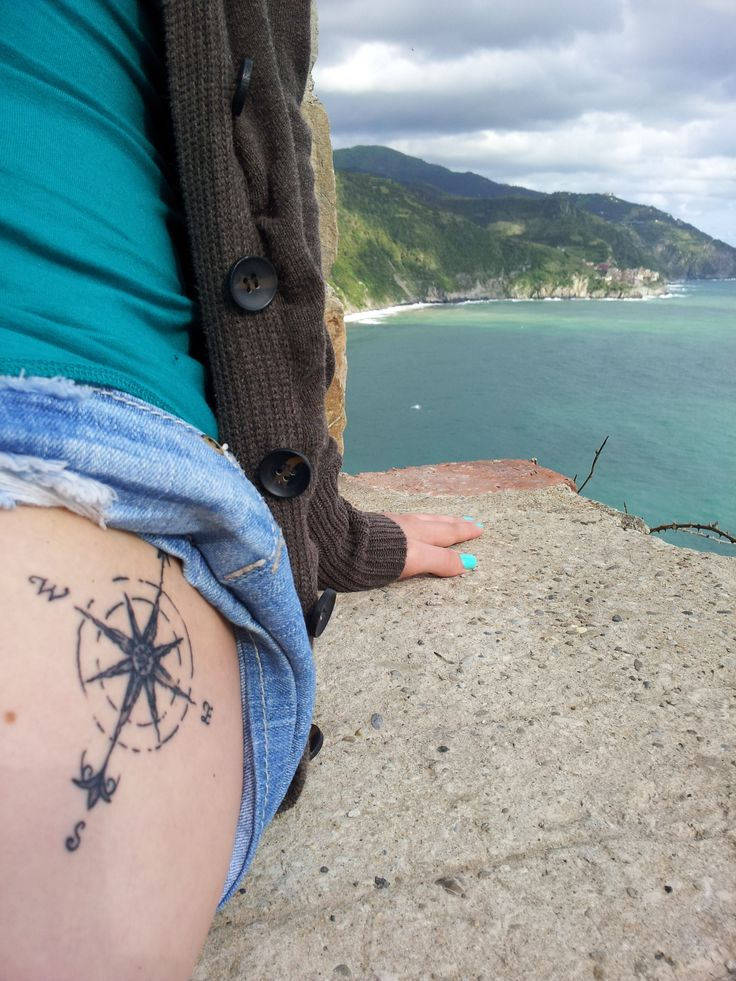 My compass thigh tattoo. Photo taken in the Cinque Terre, Italy