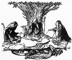 Norn (nôrn) from Scandinavian Mythology  any of three goddesses of fate, the goddess of the past (Urd), the goddess of the present (Verdandi), and the goddess of the future (Skuld).