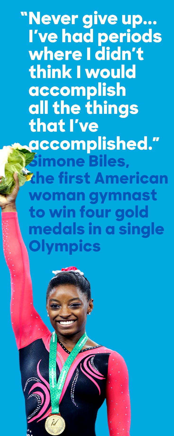 Simone Biles landed a spot in history at the Rio games after taking top honors in the floor exercise, making her the first American woman gymnast to bring home four gold medals in a single Olympics. Well done, Simone!
