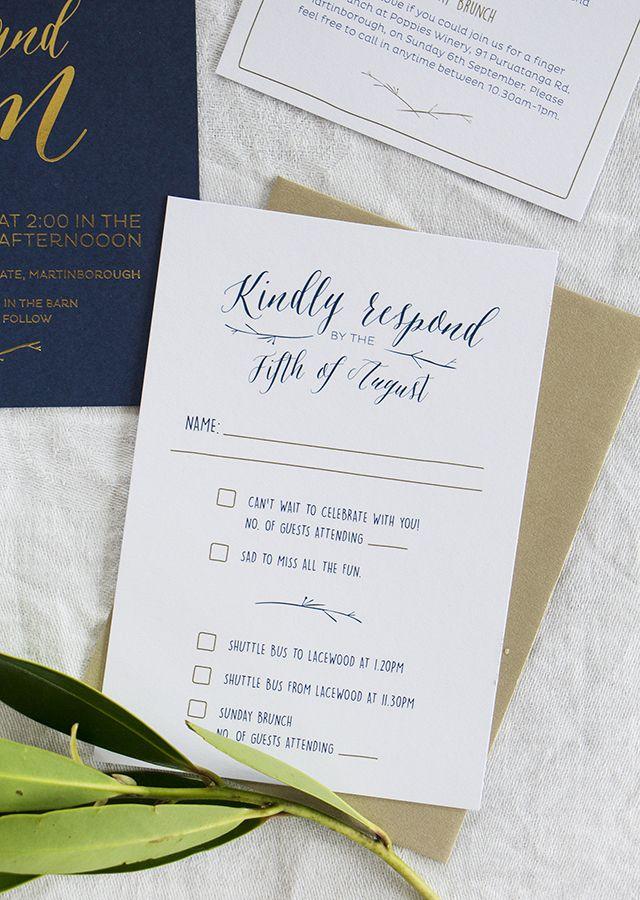 Elegant Gold Foil and Navy Wedding Invitations