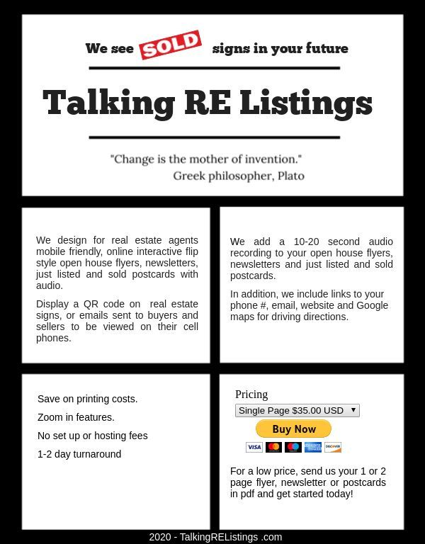 Talkingrelistings We Design For Real Estate Agents Audio Interactive Open House Flyers Newsletters Just Listed And Sold Real Estate Agent Open House Real