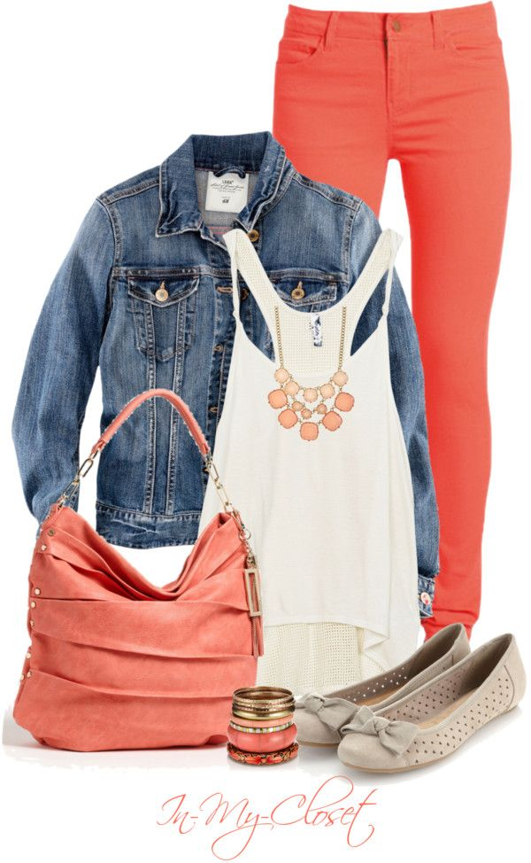 """Pretty In Peach"" by in-my-closet on Polyvore - still not sure about bringing jean jackets back, but otherwise LOVE!"