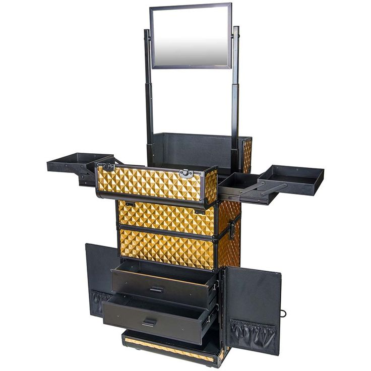 REBEL Series Pro Makeup Artists Rolling Train Case Trolley Case - Radiant Gold - TRAIN CASES