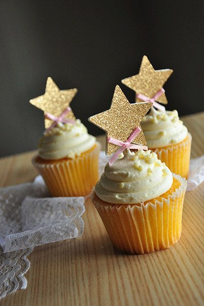 Pink and Gold Birthday Decorations.  Ships in 2-5 Business Days.  Glitter Gold Star Cupcake Toppers.  12CT.