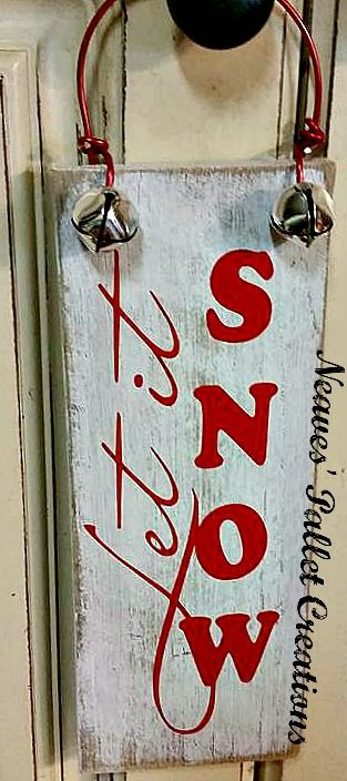 "RECYCLED WOOD PALLETS: Small Christmas Door Hanger. Has red wire hanger embellished with 2 silver jingle bells. It is 4"" x 9"" and sells for $6 each. Message us to place an order. Item # 748"