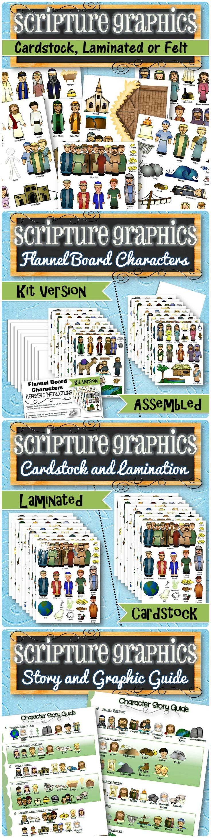 Printed, laminated or flannel characters and items to go along with the New Testament Bible and/or Book of Mormon! Each item comes labeled and includes a Character Guide to identify the stories and their associated characters. Works great with any version of scriptures (standard, readers, study guides, etc.) and is great for teaching and quiet play time. Over 100 items in each set!