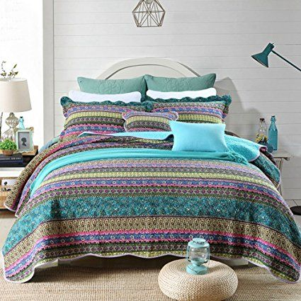 NEWLAKE Striped Jacquard Style Cotton 3-Piece Patchwork Bedspread Quilt Sets, Queen Size