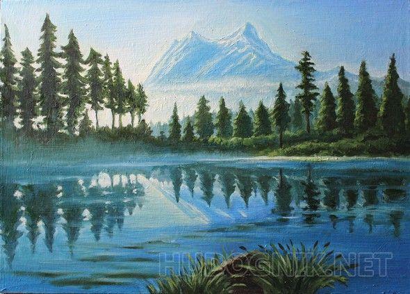 """""""Горное озеро"""" Горный пейзаж в холодных тонах ."""