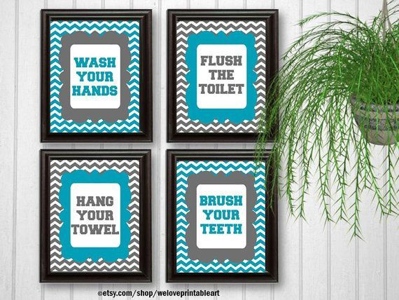 Turquoise and Gray Chevron Kids Bathroom Signs by WeLovePrintableArt: You will receive all FOUR printable (you print yourself) bathroom rules art signs featuring turquoise and gray chevron.   These will look amazing for your new bathroom decor!  Rules include:  Wash Your Hands Brush Your Teeth Flush The Toilet Hang Your Towel