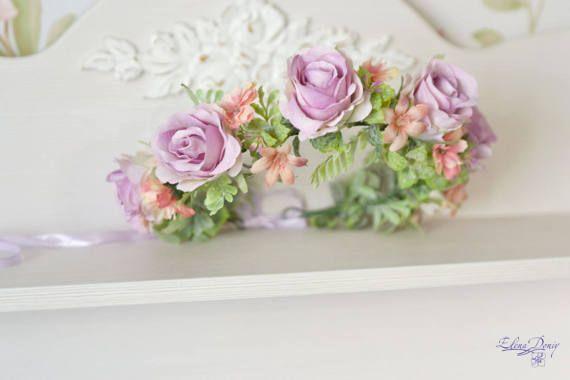 Lilac flower crown light purple roses hair wreath Wedding