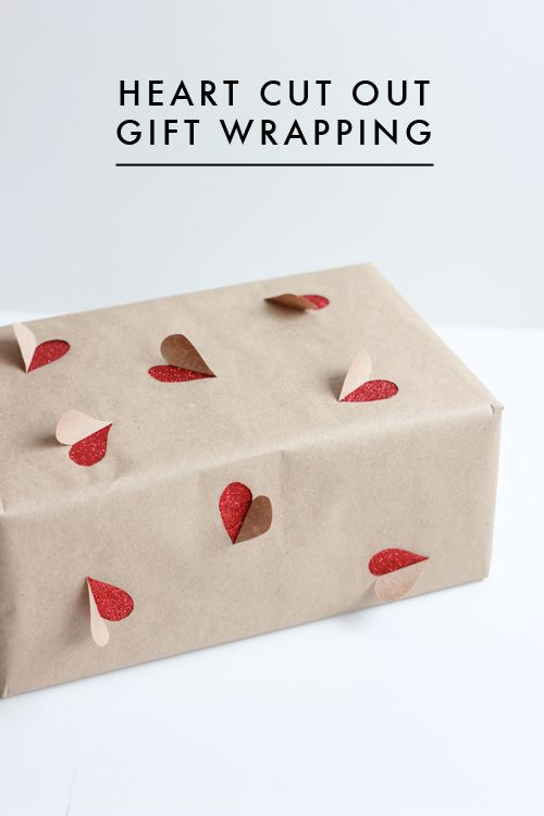 Wrapping paper with cut-out hearts!