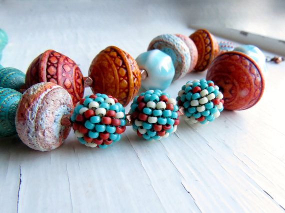 Southwestern  handmade necklace chunky jewellery by songbead