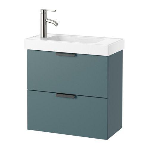 GODMORGON / HAGAVIKEN Meuble lavabo 2tir - gris turquoise  - IKEA