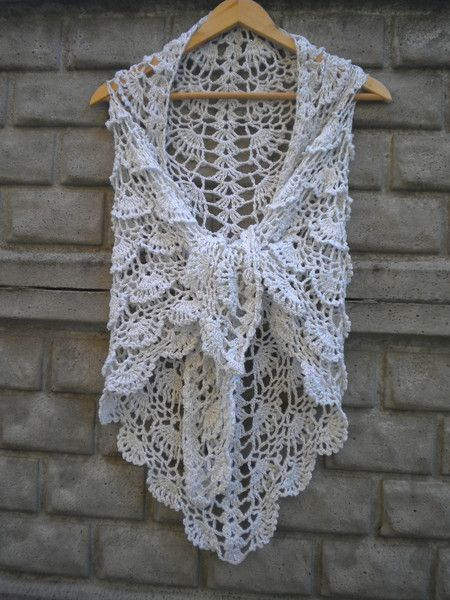 Elegancka chusta robiona na szydełku - Edyta-86 - Chusty