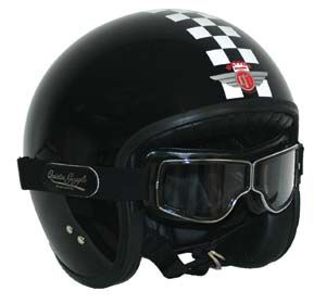 The Davida Jet helmet with Aviator Pilot T1 goggles. Classic and DOT-approved. From a staff review of 8 motorcycle helmets in the November/December 2006 issue of Motorcycle Classics.