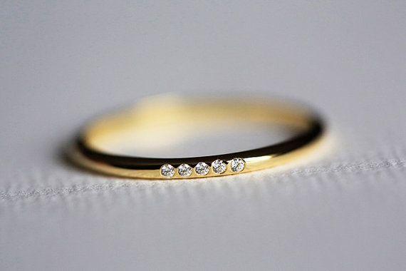 Thin Gold Diamond Ring Pave Diamond Band Thin by MinimalVS