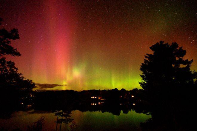 Northern lights on MacLean Lake Port Severn Ontario. Oct. 8/12