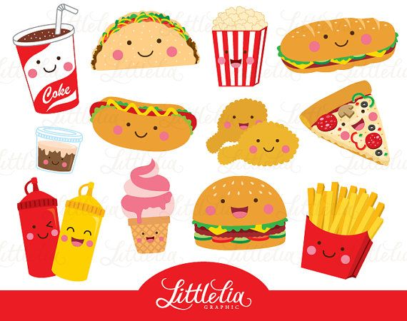 Fast food clipart - food clipart - cute food - 15096 ...