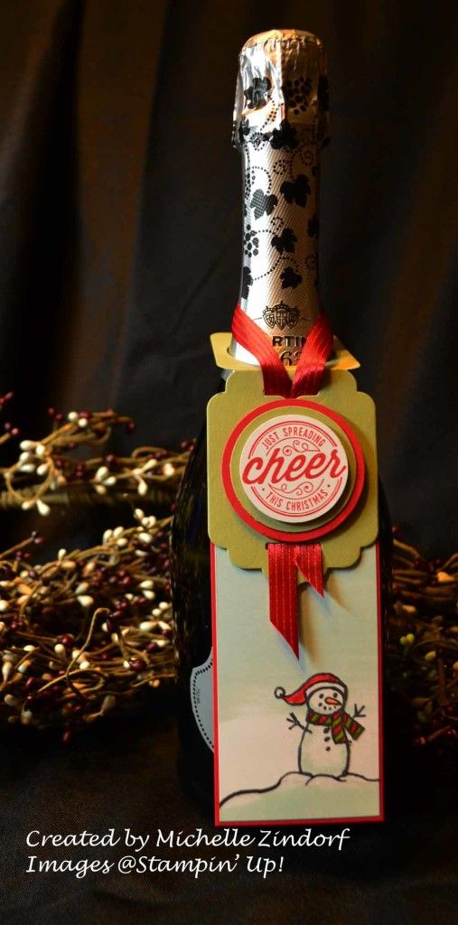 Stampin' Up! Christmas Cheer Wine Bottle Tag created by Michelle Zindorf