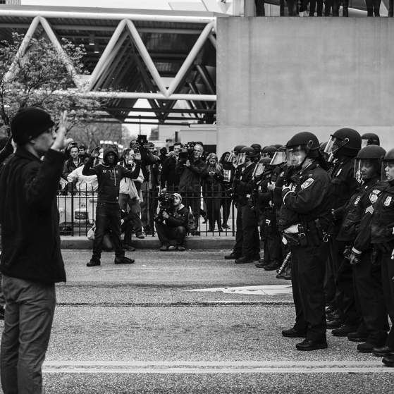Protestors clash with police In Baltimore on April 25, 2015.