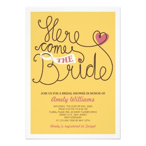 Text Yellow Bridal Shower Invitation