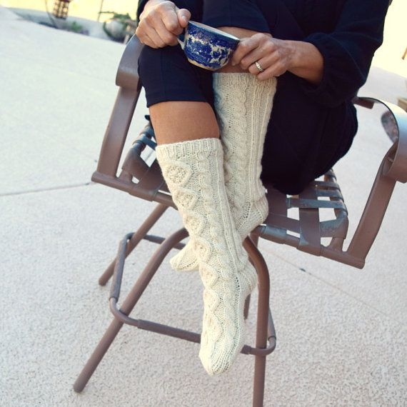 Slouchy knit socks-long socks-cable knit socks-cream
