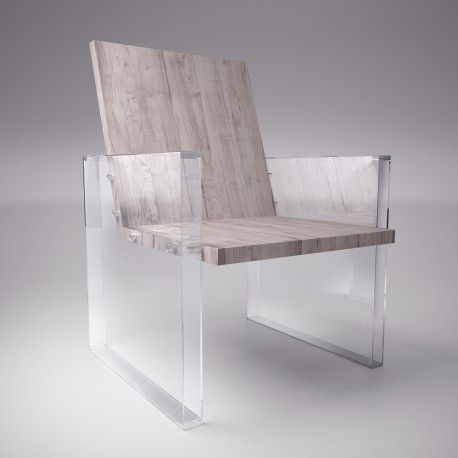 design & chair. Raw wood combined with transparent material. by nobo design