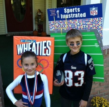Every year my husband makes the best Halloween costumes for our kids. Since we had the summer Olympics, my daughter can't get enough of the gymnastics team. What better than for her to be on the cover of a Wheaties box! Our son is the biggest Patriots football player there is so we thought the cover of Sports Illustrated would be very suitable. This is all 100% homemade! Enjoy!