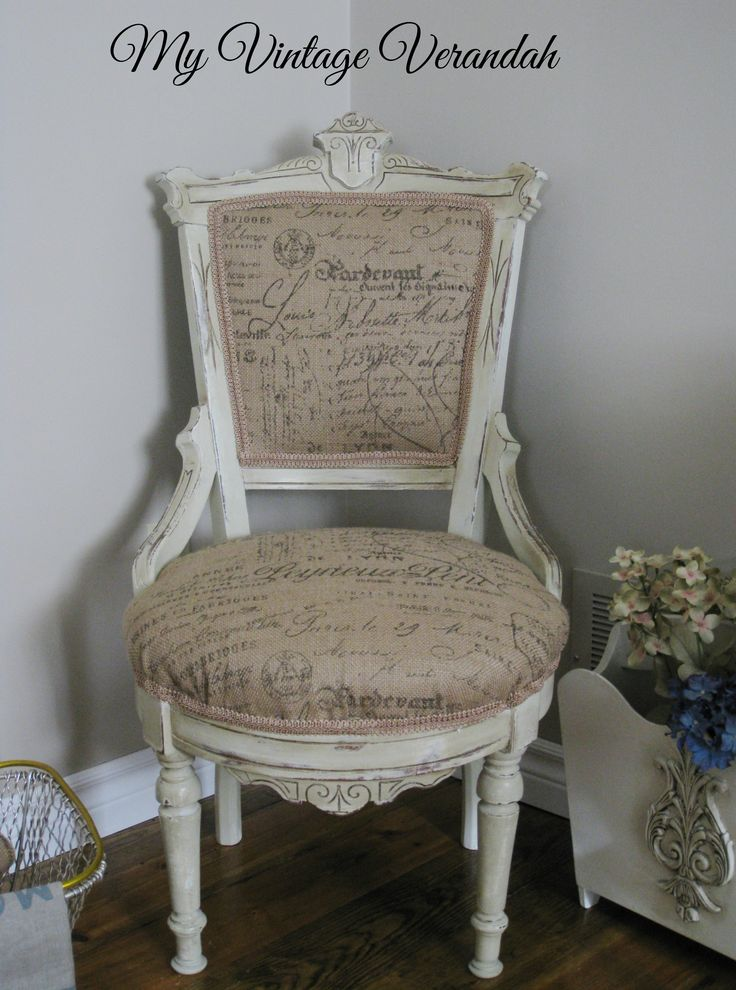 Burlap French Script Chair Painted With Annie Sloan