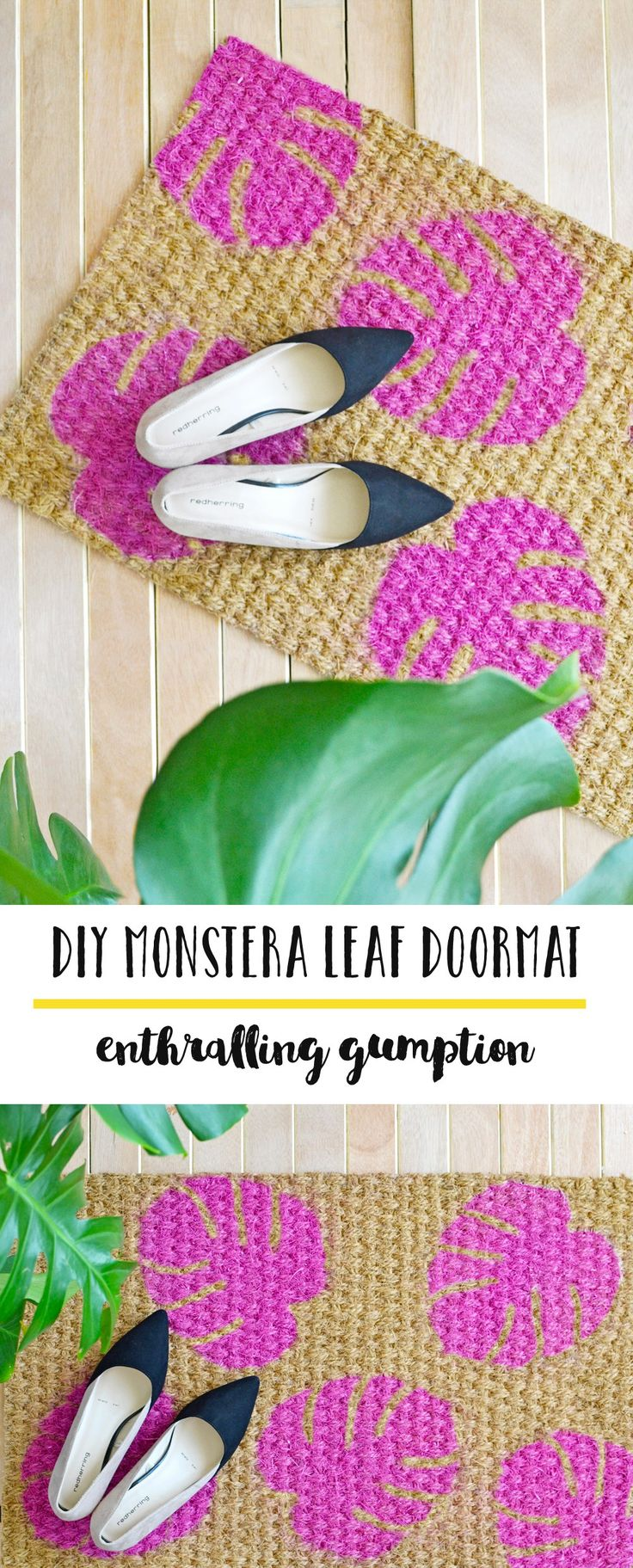 Tropical plants and cactus' are the rage these days and the trend doesn't look to be fading away soon especially when more and more stores seem to be offering a variety of home & decor products either in their shape or pattern. I thought of giving a tribute to my Monstera plant by making this hot pink monstera leaf doormat
