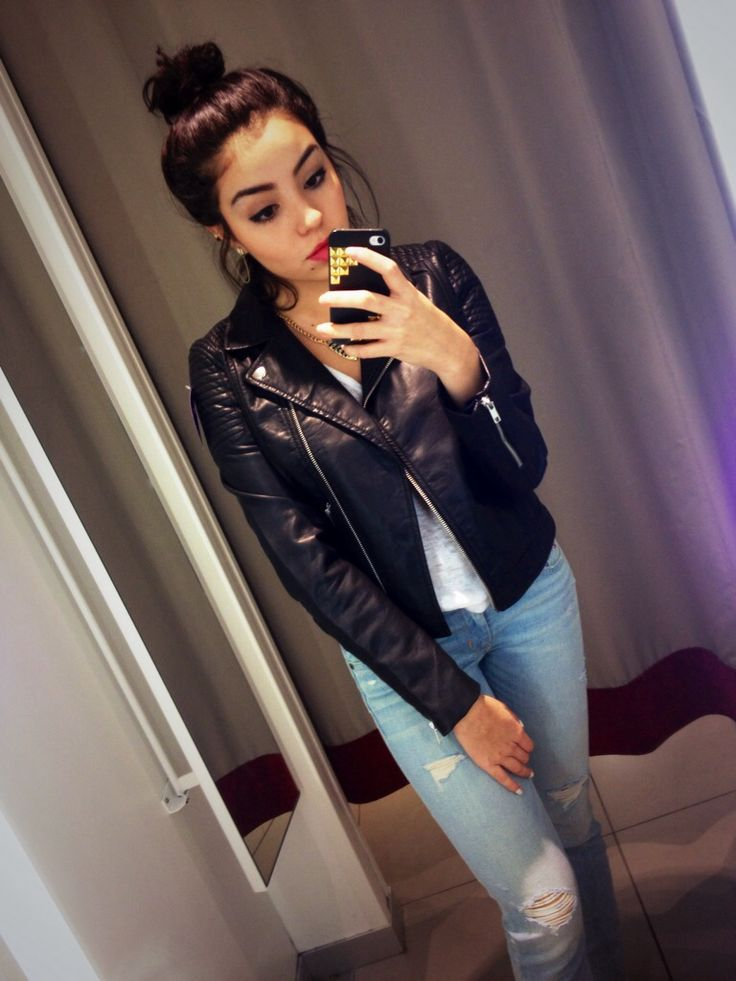 impressive baddie outfits leather jacket shoes