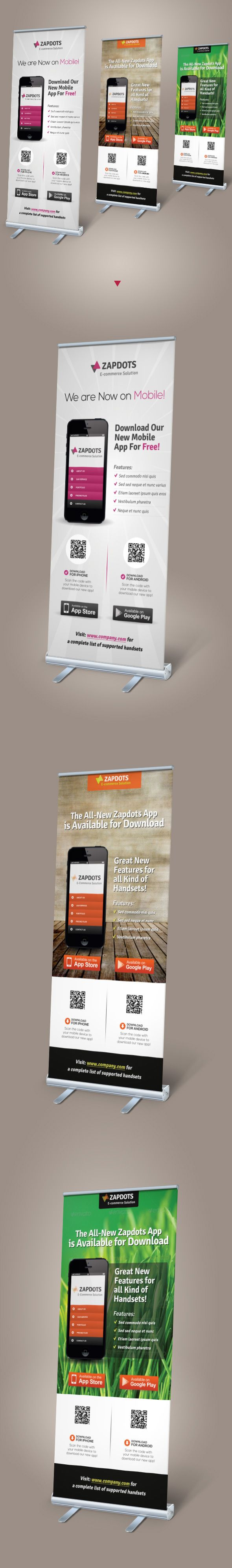 Mobile App Promotion Roll-up Banners Vol.02 by Kinzi Wijaya, via Behance