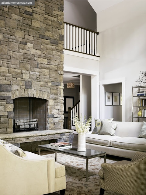 high ceilings: Stones Fireplaces, Living Rooms, Stones Wall, Dream House, Homes Design, House Styles, House Idea, Families Rooms, Traditional Homes