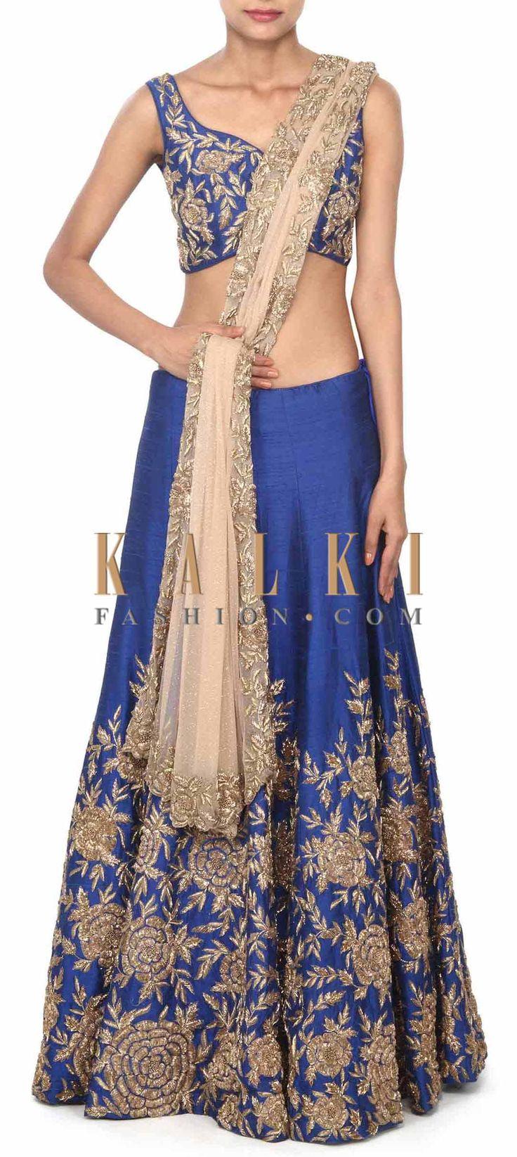 Buy this Royal blue lehenga adorn in zardosi in rose motif only on Kalki