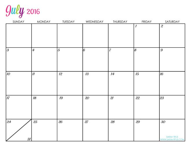 july 4th 2016 calendar