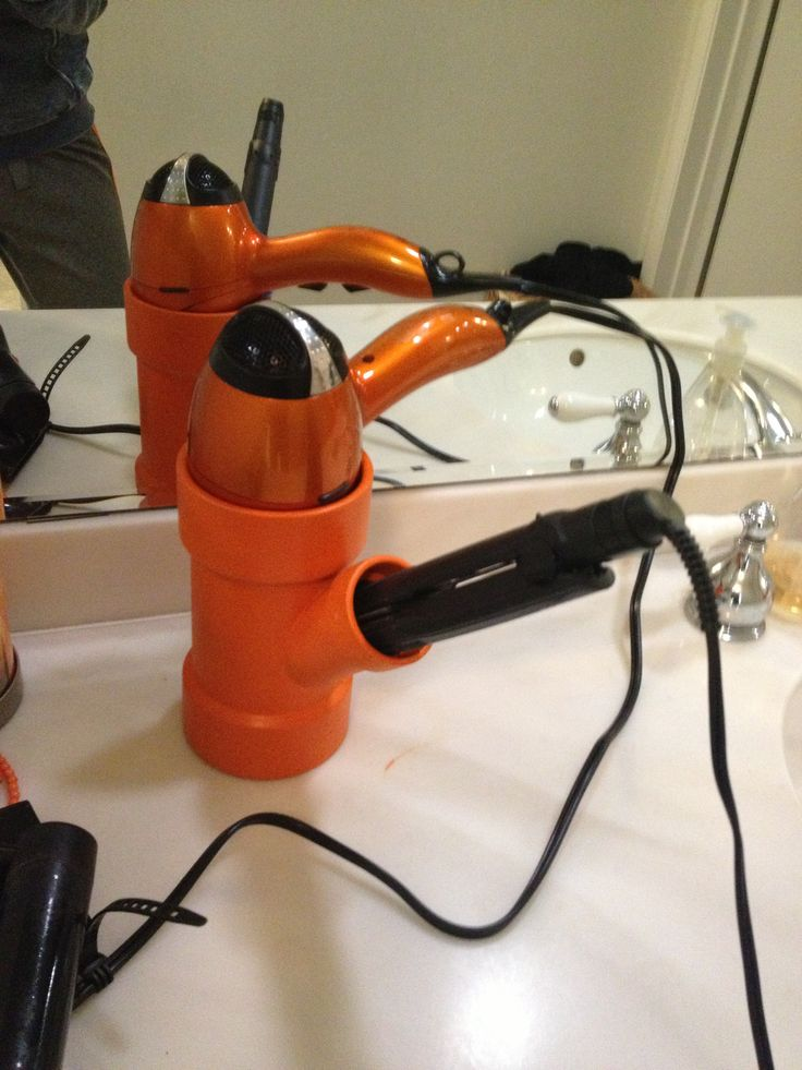 Awesome Hair Dryer Curling Iron Organizer Part - 14: Hair Dryer And Curling Iron Or Straightener Holder. PVC Easy DIY