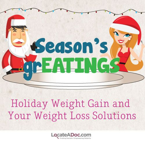 Love eating during the holidays? Check out LocateADoc.com's infographic for information and weight loss solutions to curb holiday weight gain this year!