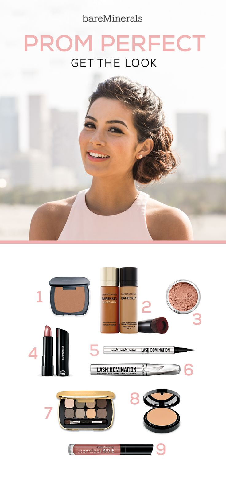 Shop YouTube beauty star Sarah Butler's gorgeous prom look: 1) Ready Bronzer in High Dive, 2) Mix BareSkin Foundation + BareSkin Sheer Sun Bronzer for a sun-kissed glow, 3) Golden Gate Blush, 4) Marvelous Moxie Lipstick in Speak Your Mind, 5) Lash Domination Ink Liner, 5) Lash Domination Volumizing Masara, 7) Ready 8.0 in The Power Neutrals, 8) BareSkin Perfecting Veil and 9) For fuller-looking lips top them off with Moxie Lipgloss in Spark Plug. Watch the tutorial…