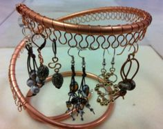 Earring tree, copper spiral, Earring Holder, Organizer for jewelry.  Holds approx 28 pairs