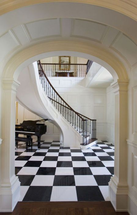 Foyer in a Georgian style home. Herlong & Associates.: Checkered Floors, Spirals Stairca, Traditional Stairca, The Piano, Stairca Design, Black And White, Architecture Interiors, Black White, Curves Stairca