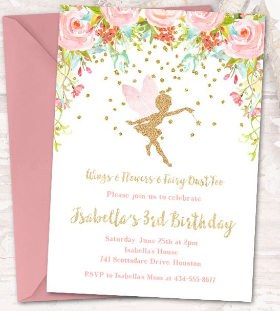 Instantly Personalize – Editable Birthday Party Invitation Template – Fairy Dust Watercolor Flowers Gold Glitter – Instant Download Printable