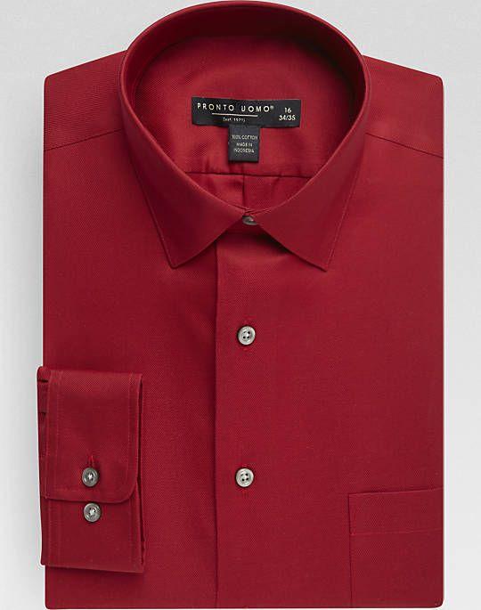 Pronto Uomo Crimson Red Slim Fit Dress Shirt Clothes
