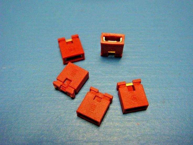 (1000) SAMTEC SNT-100-RD-G RED 2 position Shunt GOLD JUMPER 2.54mmRoHS #SAMTEC