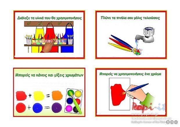 Γωνιά τέχνης : Καρτέλες με οδηγίες χρήσης υλικών