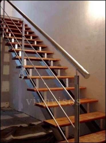escaleras hierro c/ madera + barandas hierro