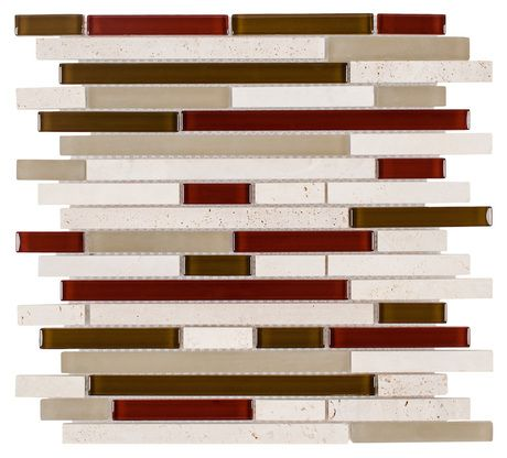Glass Travertine Wine Blend Tile Brick mesh mounted on a 12x12 sheet for Backsplash, bathroom, and featured wall. This product is sold by the sheet.