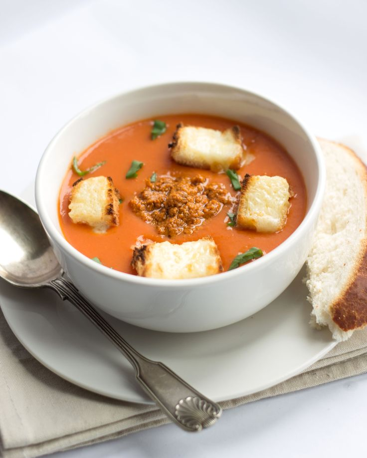 Tomato Pesto Soup with Cheesy Croutons - Erren's Kitchen - This recipe is a delicious soup that can be served hot or cold, making it a soup that can be enjoyed year round!