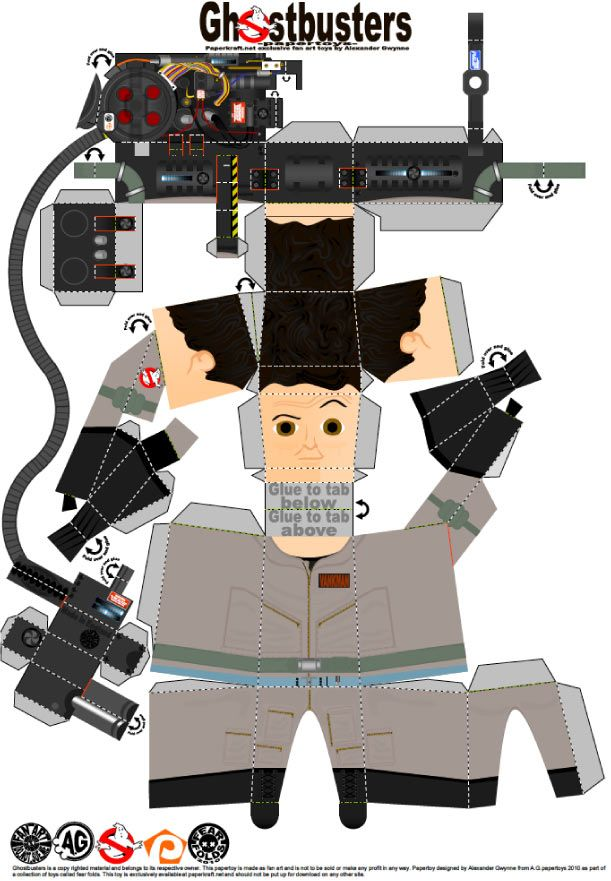 Blog Paper Toy papertoys Ghostbusters Peter template preview Papertoys SOS Fantômes (x 3)